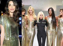 Amal-Alamuddin-Clooney-sfilata-Versace-SS18-abiti-Versace-vintage